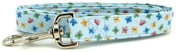 Pastel Blue Butterflies Dog Leash