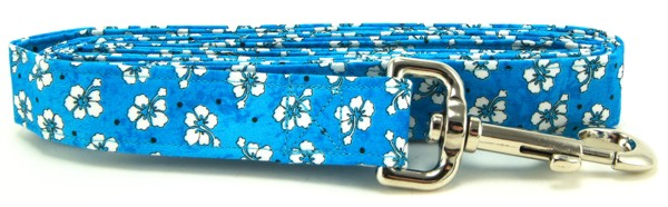 Blue Hawaiian Flowers Dog Leash