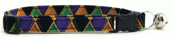 Gold and Purple Harlequin Cat Collar