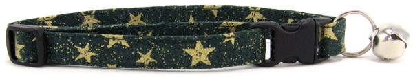 Gold Stars on Green Cat Collar