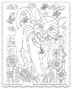 Free coloring page ~ Happy Cat