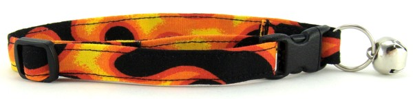 Orange Flames Cat Collar