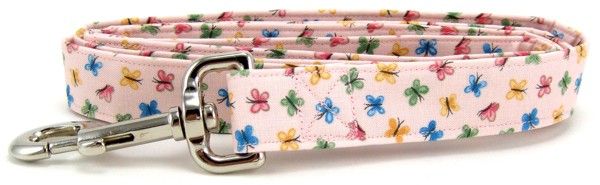 Pastel Pink Butterflies Dog Leash