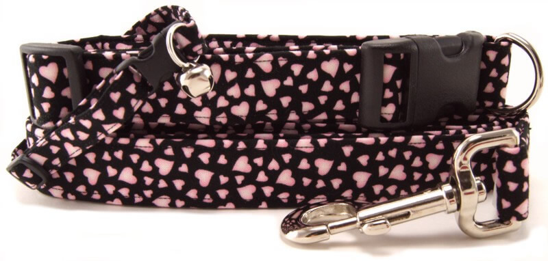 Pink Hearts on Black Dog Collars, Cat Collars and Dog Leashes
