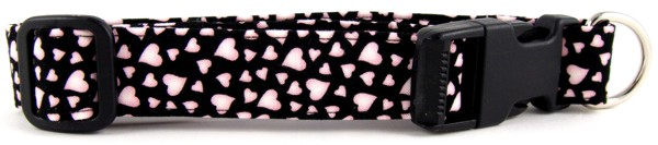 Pink Hearts on Black Dog Collar