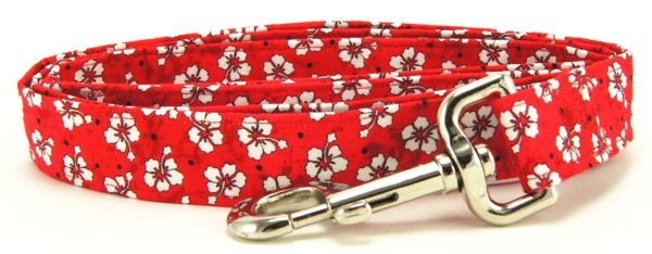 Red Hawaiian Flowers Dog Leash