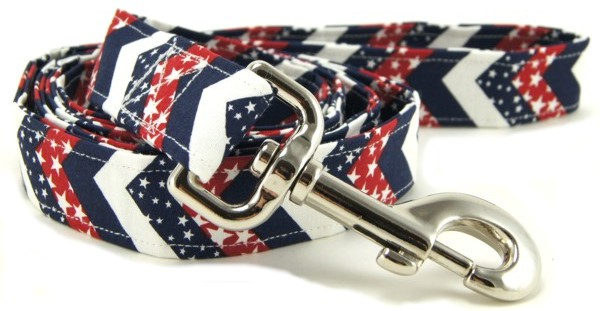 Red White & Blue Chevrons Dog Leash