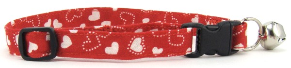 Red and White Hearts Cat Collar
