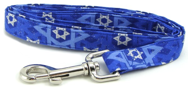 Silver and Blue Star of David Dog Lead