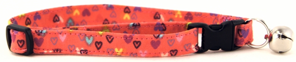 Tiny Colorful Hearts Cat Collar