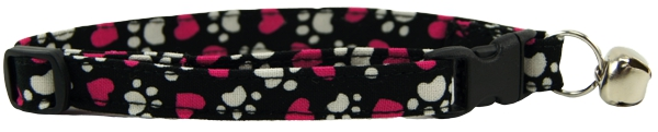 Tumbled Magenta Hearts & Paws Cat Collar