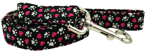 Tumbled Magenta Hearts & Paws Dog Leash