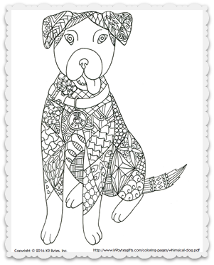 Free coloring page ~ Whimsical Dog