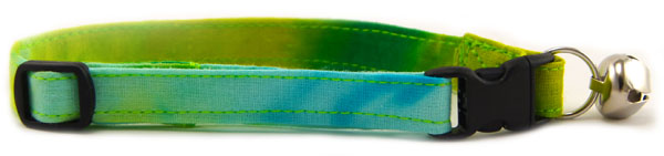 Yellow, Blue, Green Tie Dye Cat Collar